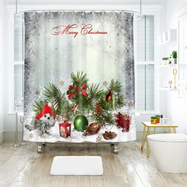 Christmas Pine Cones in the Snow Bathroom Shower Curtain