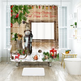 Merry Christmas Snowman Wearing a Hat and Scarf Bathroom Shower Curtain