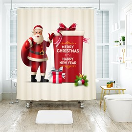 Lifelike Santa Claus with Big Gift Box Bathroom Shower Curtain