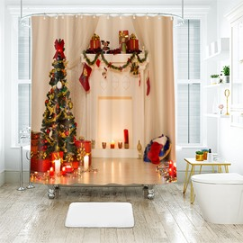 Simple Pure White Christmas Theme Bathroom Shower Curtain