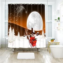 Santa Claus Fly to the Moon Bathroom Shower Curtain