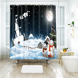 Quiet Night with Full Moon Snowmen in the Snow Bathroom Shower Curtain