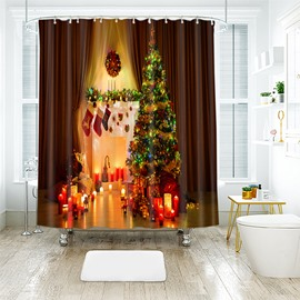 Cozy Christmas Tree and Candles Warm Feeling Bathroom Shower Curtain