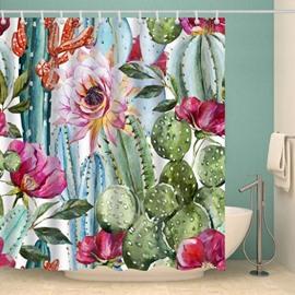 Boho Watercolor Cactus Seamless 3D Shower Curtain Bathroom Decor