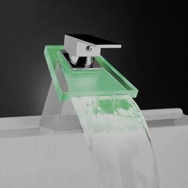 Contemporary LED Glass Temperature Control Luminous Faucet
