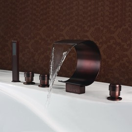 New Arrival Arc-Shaped Widespread Five Piece Waterfall Faucet