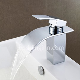 Contemporary Single Handle Chrome Finish Widespread Waterfall Faucets