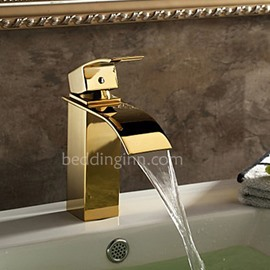 Golden Single Handle Ti-PVD Finish Waterfall Faucets