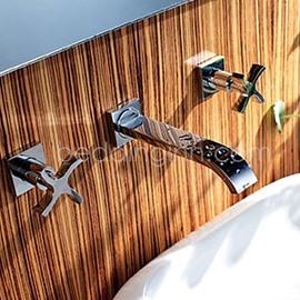 Double Cross Handles Waterfall Wall Mount Sink Faucet