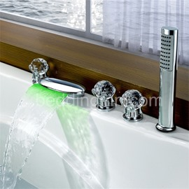 New Arrival LED Color Changing Waterfall Round Bathtub Faucet