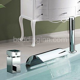 New Arrival Arc-Shaped Single Handle Widespread Waterfall Bathtub Faucet