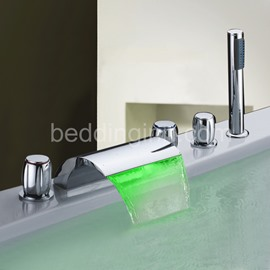 LED Color Changing by Temperature Three Handles Bathtub Faucet