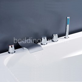 New Arrival Chrome Finish Three Handles Bathtubs Faucet