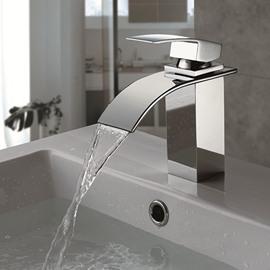 Single Handle/Hole Finish Chrome Waterfall Bathroom Sink Faucet