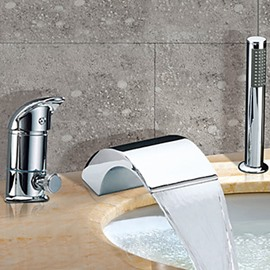 Chrome Finish Two Handles Contemporary Widespread WaterfallBathtub Faucet
