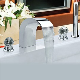 Contemporary Chrome Finish Stainless Steel Widespread Bathtub Faucets