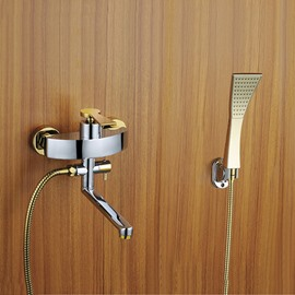 Chrome Finish Golden Handshower and Rotatable Spout Bathtub Faucet