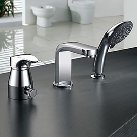 Fancy Chrome Finish Widespread Two Handles Bathtub Faucet