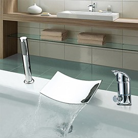 Contemporary Two Handles Widespread Chrome Finish Waterfall Tub Faucet