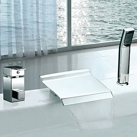 Elegant Contemporary Chrome Finish Two Handles Widespread Waterfall Bathtub Faucet