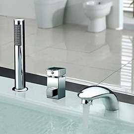 Glamorous Contemporary Widespread Chrome Finish Two Handles Tub Faucet