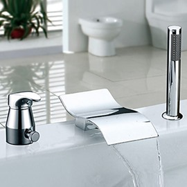 Modern Style Chrome Finish Widespread Waterfall Handshower Bathtub Faucet