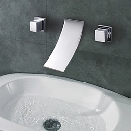 Chrome Finish Widespread Curve Spout Waterfall Bathroom Sink Faucet