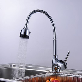 Pull Down 2-Setting Spray 360° Swivel Spout Brass Kitchen Sink Faucet