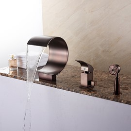 Oil-rubbed Bronze Finish Single Handle Three Holes With Round Hand Shower Bathtub Faucet