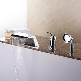 Widespread Single Handle Three Holes with Hand Shower Bathtub Faucet