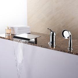 Contemporary Chrome Finish Three Holes Single Handle Bathtub Faucet