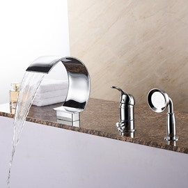 Glamorous Single Handle Three Holes with Hand Shower Bathtub Faucet