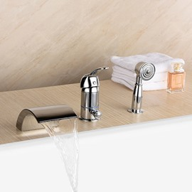 Widespread Contemporary Chrome Finish Bathtub Faucet
