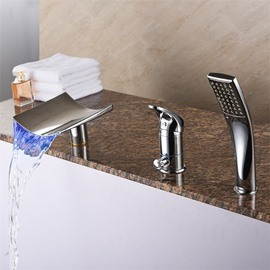 LED Style Waterfall Style Chrome Type Contemporary Style 3 Holes
