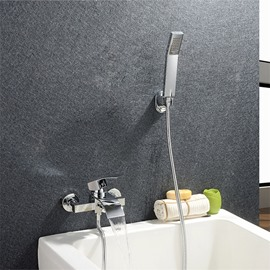 Waterfall Wall in Bathtub Faucet Hand Shower One Hole