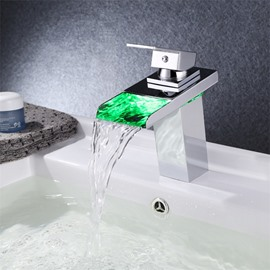 New Modern LED RGB Waterfall Chromed Single Lever No Battery Mixer Faucet taps