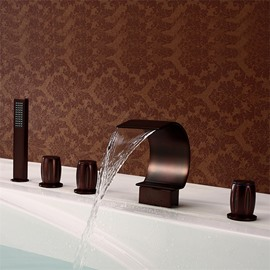 Bronze ORB 5PCS Waterfall Bathtub Faucet Five Holes Three Handles