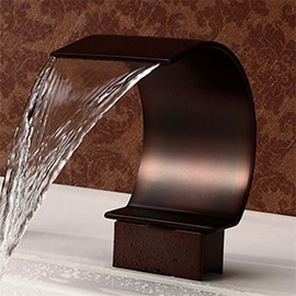 Double Handles Deck Mount Waterfall Faucet Three Holes Two Handles