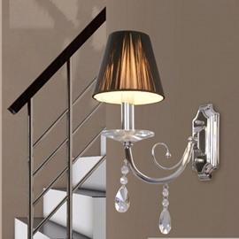 Tempting Elegant Fabric Shade Crystal Wall Light