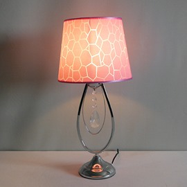Stunning Pink Crystal Fabric Shade 1 Light Lamp