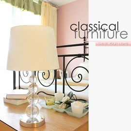 Glamorous White Fabric Shade 1 Light Lamp