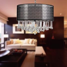 Elegant Glass Water Drops Fabric Shade 4 Lights Pendant