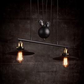Nordic Retro Creative Umbrella-Shaped Bar Pendant 2-Head Lights