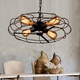 Retro American Country Style Creative Fan Design 4-Head Pendant Lights
