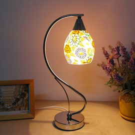 Modern Romantic Sunflower Glass Shade 1-Light Table Lamp