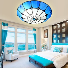 Mediterranean Tiffany Style Bedroom Living Room Flush Mount