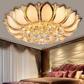 Stunning Golden Lotus Design Crystal Flush Mount