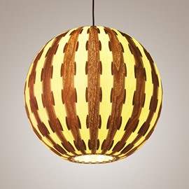 Amazing Round Ball Shape Decorative Stripe Pattern Wood Pendant Light