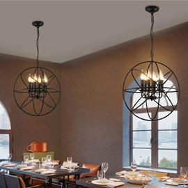 Simple Classic Black Round Iron Art 6 Bulbs Ceiling Light