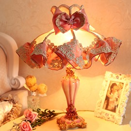 Cloth Warm Pink Flower Pattern Decorative Princess Table Lamp